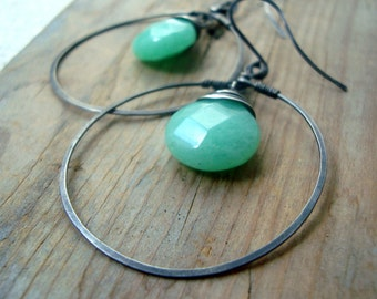 Large Hoop Earrings - Mint Candy Jade. Oxidized Sterling Silver Spring Fashion Earthy Gemstone Jewelry Gifts Under 50 Retro