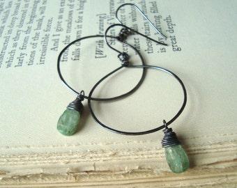 Large Hoop Earrings With Green Kyanite Oxidized Sterling Silver Fall Fashion Gemstone Jewelry Dark Green Woodland - Moss