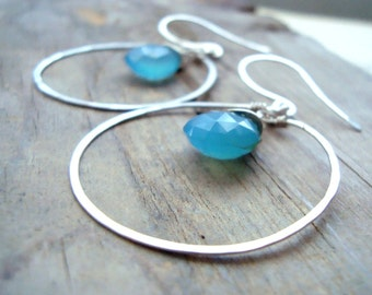 Large Hoop Earrings Pacific Blue and Sterling Silver Blue Chalcedony Briolette Summer Fashion Gemstone Jewelry Gifts Under 50
