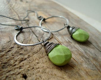 Hoop Earrings With Green Magnesite Oxidized Sterling Silver Fall Fashion Gemstone Jewelry Olive Green Woodland Modern Wire Wrapped