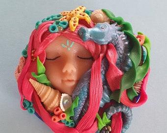 Handmade Polymer Clay Brooch OOAK Mermaid