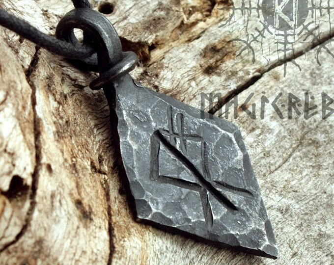 Forged Iron Wolf Rune Pendant Viking Amulet Runic Nordic Talisman Necklace