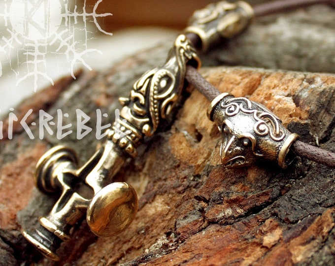 Mjolnir Thor Hammer Olaf Cross Wolf Ravens Bronze Pendant Handmade Necklace