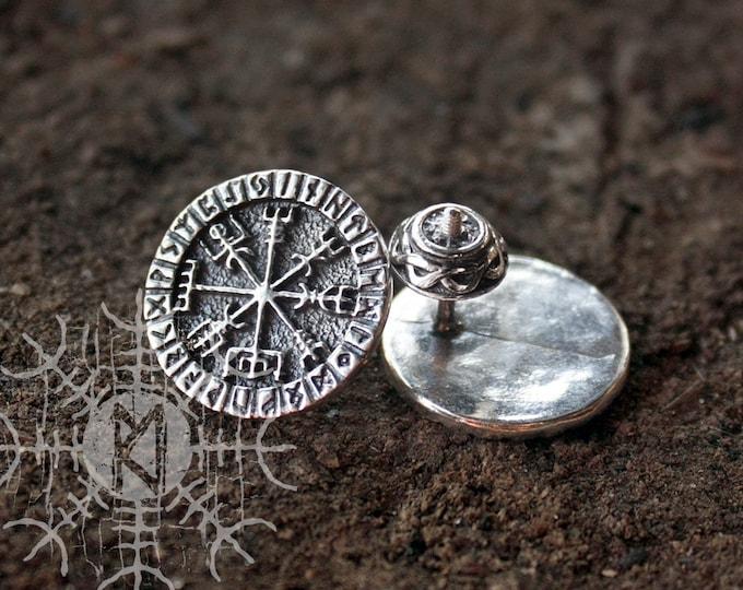 NEW ITEM! ~ Sterling 925 Silver Vegvisir Futhark Runes Odin Nordic Amulet Earring