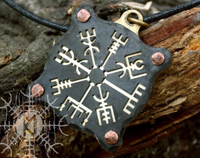 Forged Iron Viking Vegvisir Pendant Brass Amulet Nordic Runic Talisman Necklace