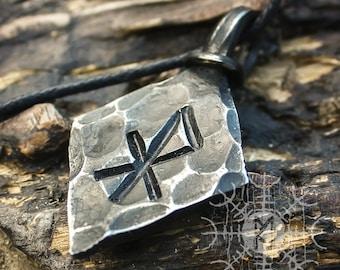 Forged Iron Love Rune Pendant Viking Amulet Runic Nordic Talisman Necklace