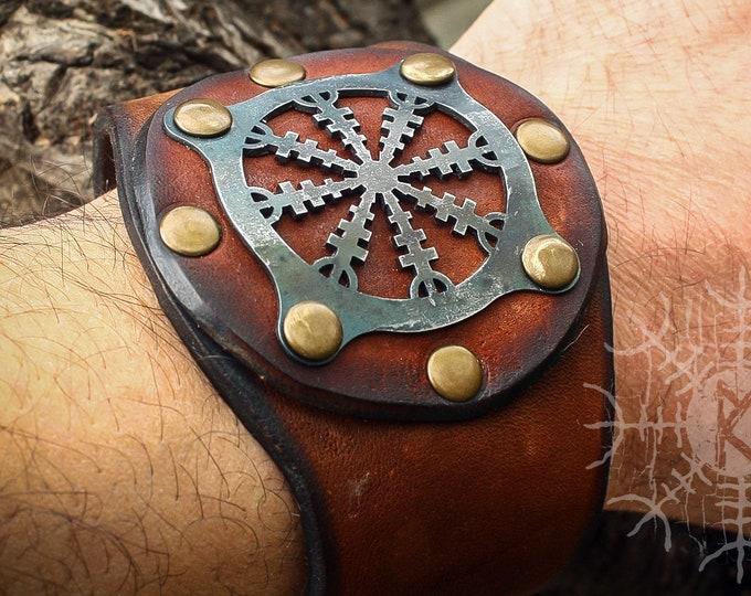 Viking Bracelet, Aegishjalmur Bracelet, Helm Of Awe Bracelet, Amulet Bracelet, Leather Cuff, Genuine Leather Bracelet, Forged Iron