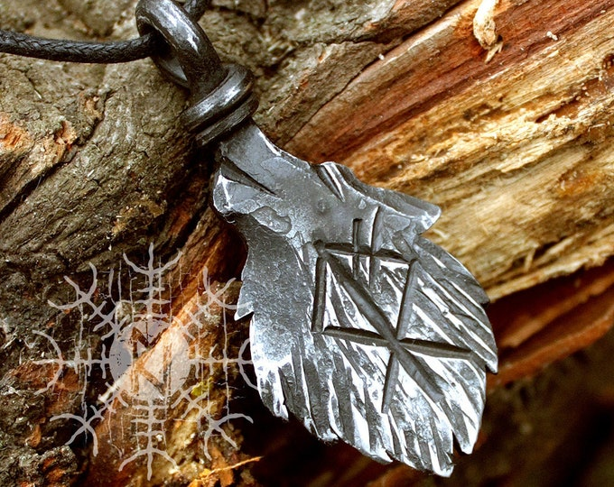 Forged Iron Wolf Head Rune Viking Pendant Amulet Runic Nordic Talisman Necklace