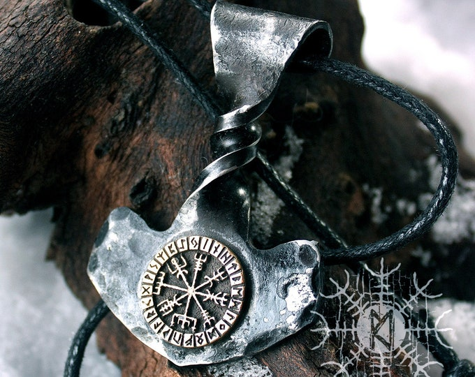 NEW ITEM! ~ Forged Iron Twisted Handle Mjolnir Bronze Vegvisir Viking Compass Magic Stave Futhark Handmade Thor Hammer Pendant FM9