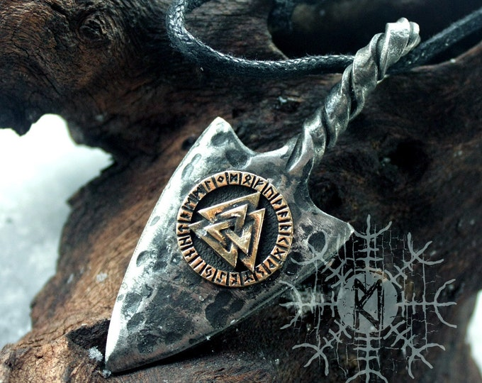 NEW ITEM! ~ Forged Iron Odin Spear Gungnir Spearhead Arrow Bronze Valknut Viking Futhark Handmade Pendant