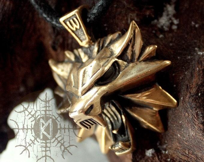 Bronze Wolf Fenrir Teiwaz Rune Online Game 3D Pendant Necklace