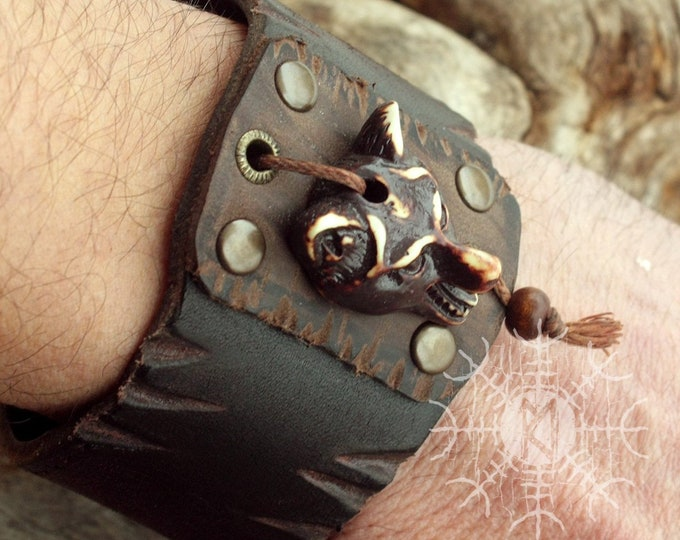 Viking Wolf Head Bracelet Fenrir Ulfhednar Bone Handmade Genuine Leather Cuff