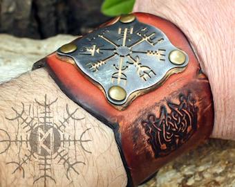 Viking Bracelet, Vegvisir Bracelet, Forged Iron Bracelet, Rune Bracelet, Amulet Bracelet, Leather Cuff, Leather Bracelet, Handmade Bracelet