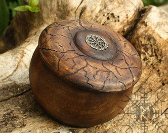 Wood Box, Wood Jewelry Box, Maple Wood Box, Aegishjalmur symbol, Helm of Awe, Round Wood Box, Unique Wood Box BX2