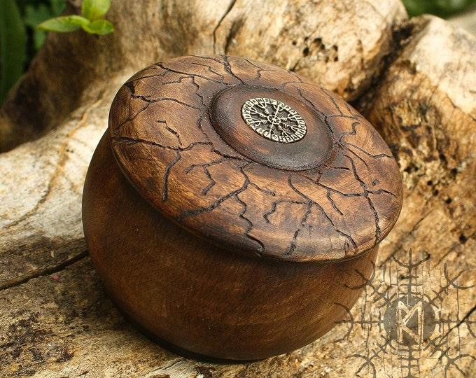 Wood Box, Wood Jewelry Box, Maple Wood Box, Aegishjalmur symbol, Helm of Awe, Round Wood Box, Unique Wood Box BX2