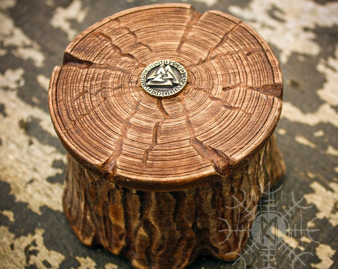 Wood Box, Wood Jewelry Box, Maple Wood Box, Valknut symbol, Round Wood Box, Unique Wood Box