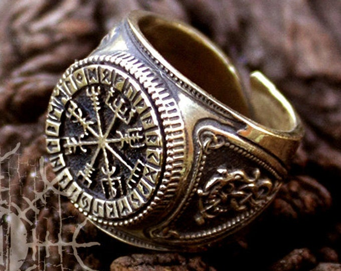 Viking Style Ring, Vegvisir Ring, Bronze Ring, Adjustable Viking Ring, Nordic Ring, Antique Style Ring, Viking Jewelry For Men, Futhark Ring