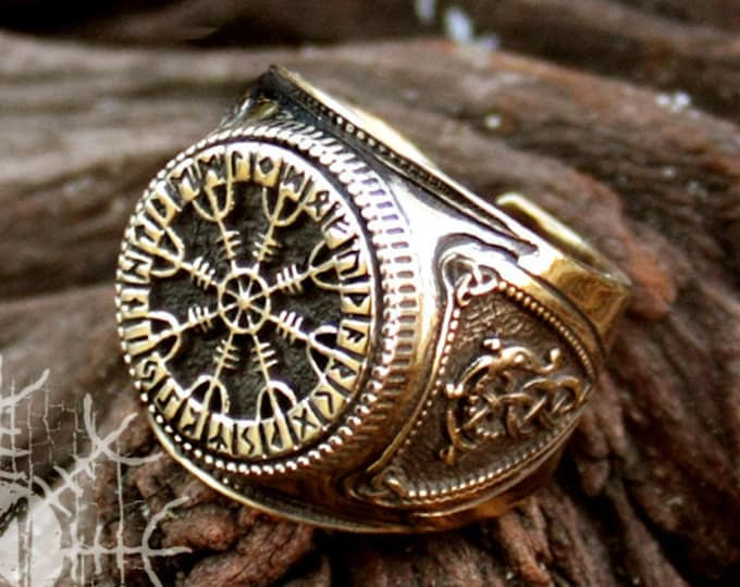 Bronze Viking Helm of Awe Aegishjalmur Futhark Viking Magic Stave Runic Adjustable Size Ring
