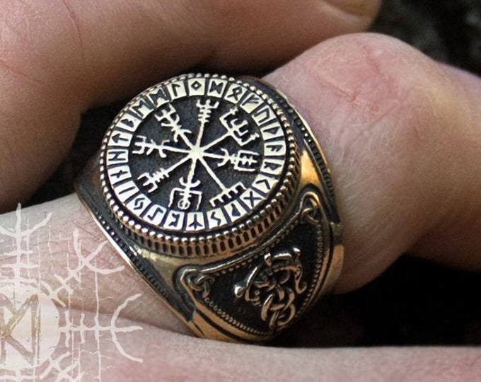 Bronze Vegvisir Viking Ring Futhark Runes Compass Magic Stave Nordic Adjustable Size Ring