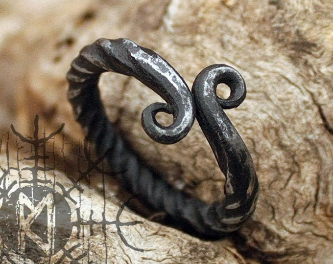 Forged Iron Handmade Viking Jormungandr Serpent Infinity Symbol Nordic Ring