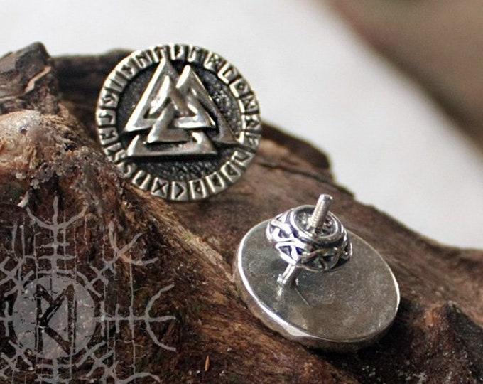 Sterling 925 Silver Valknut Futhark Runes Odin Nordic Amulet Earring