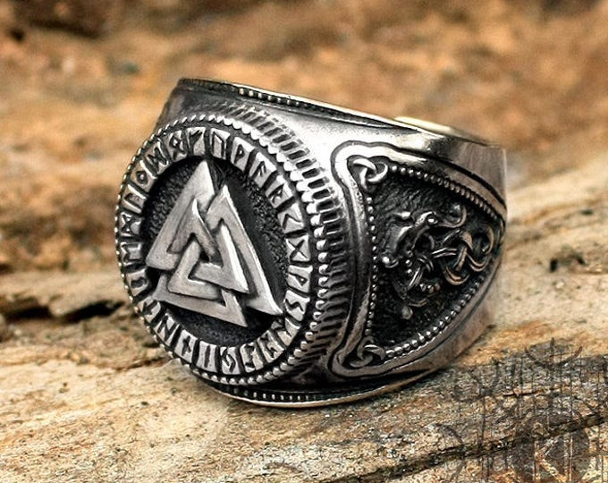 Silver Viking Ring Valknut Futhark Runes Odin Nordic Adjustable Size Ring
