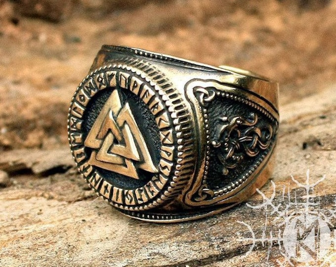 Bronze Viking Valknut Ring Futhark Runes Odin Nordic Adjustable Size Ring