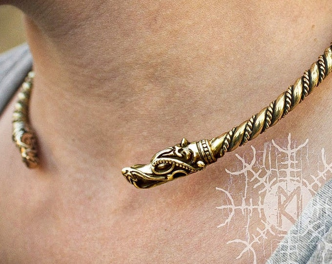 Viking Torc, Nordic Torc, Wolf Heads, Fenrir Torc, Nordic Torc, Handmade Torc, Twisted Wire Bronze Brass Neck Torc, Torque