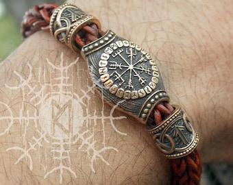 Viking Runes Bracelet Compass Vegvisir Aegishjalmur Futhark Beads Wolf Heads Braided Brown Genuine Leather Cuff WHB9brn