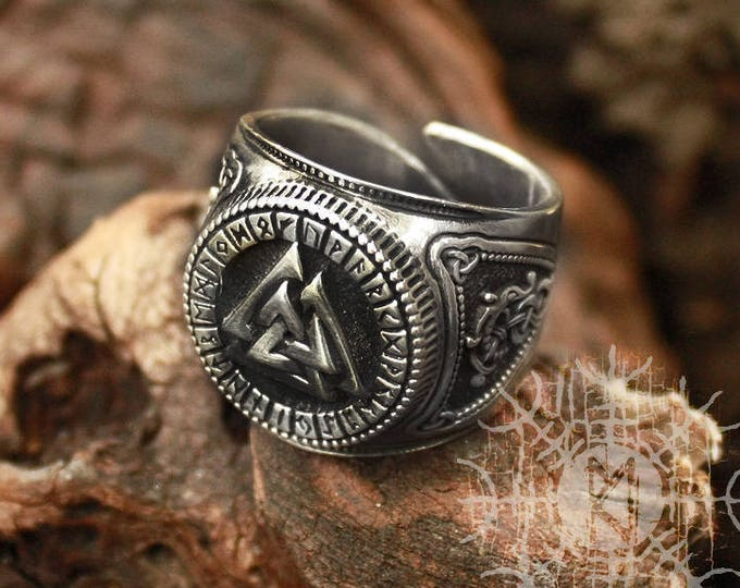 Silver Valknut Futhark Runes Odin Nordic Amulet Adjustable Size Ring