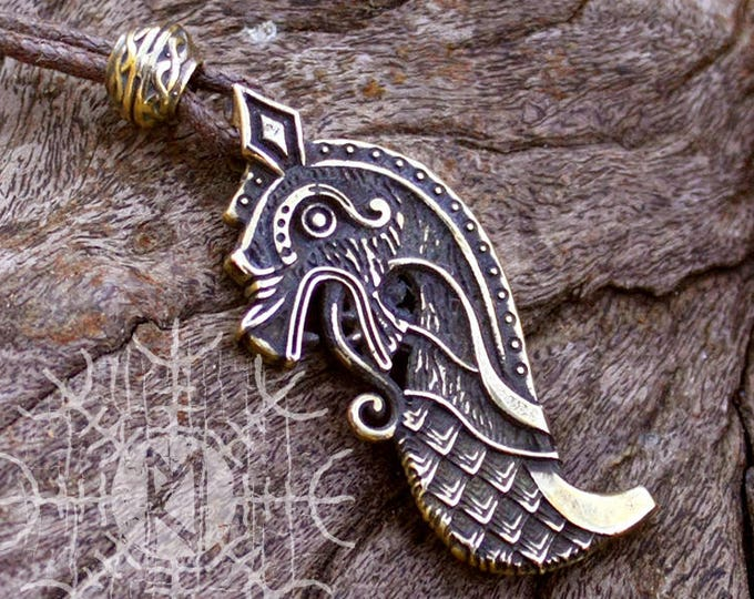 Bronze Drakkar Oseberg Bow Viking Dragon Ship Scandinavian Norse Nordic Amulet Pendant Necklace