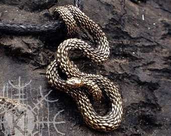 Viper Snake Serpent Bronze Necklace, Handcast Necklace, Snake Pendant, Serpent Pendant, Amulet, Talisman