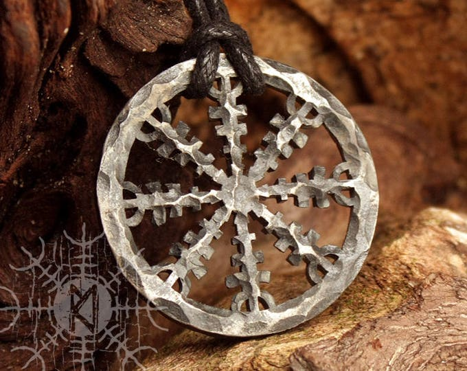 Forged Iron Helm of Awe Aegishjálmur Viking Icelandic Nordic Runic Pendant Talisman Necklace