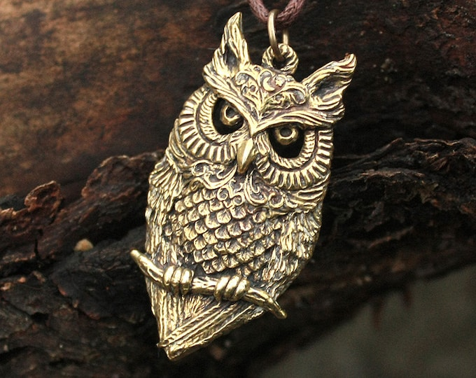 Bronze Night Owl Bird 3D Spiritual Amulet Pendant Talisman Necklace