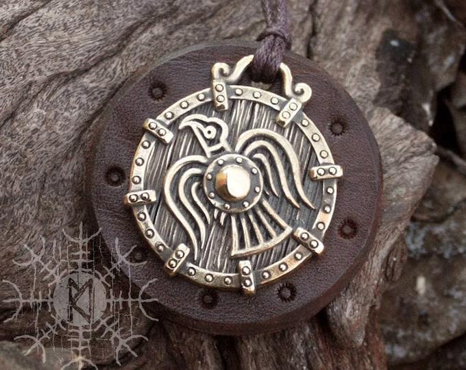 Bronze Raven Viking Banner Odin Huginn Muninn Norse Scandinavian Pendant Talisman Necklace