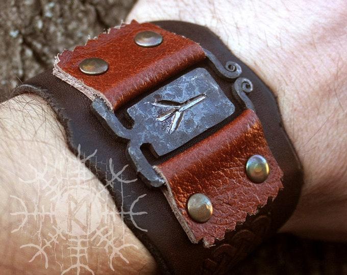 NEW ITEM! ~ Forged Iron Algiz Rune Viking Handmade Leather Bracelet