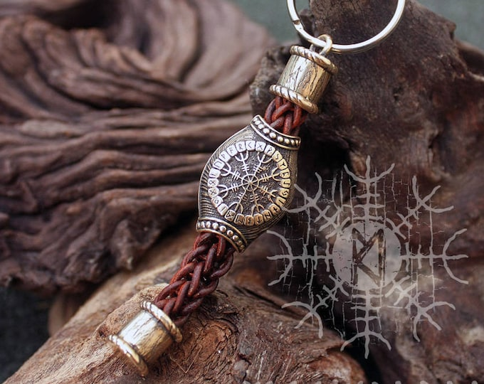 Bronze Vegvisir Aegishjalmur Bead Handmade Braided Brown Genuine Leather Keychain Zipper Charm