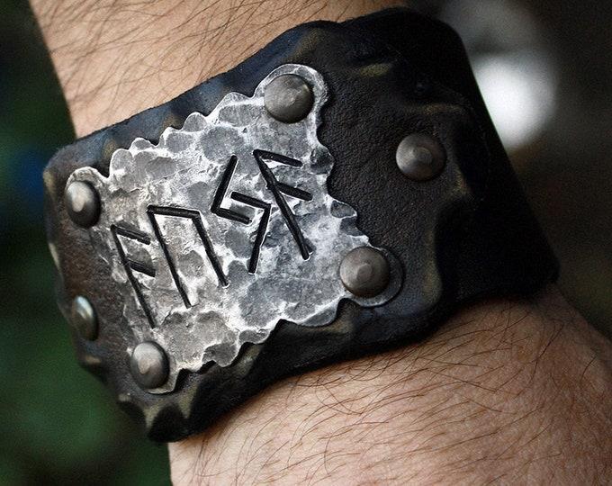 Forged Iron AUJA Ansuz Uruz Jera Runes Good Luck Viking Handmade Leather Bracelet