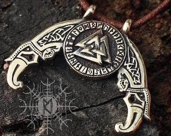 Viking Pendant Valknut Futhark Odin Triple Horn Triskele Ravens Huggin Munnin Nordic Bronze Necklace