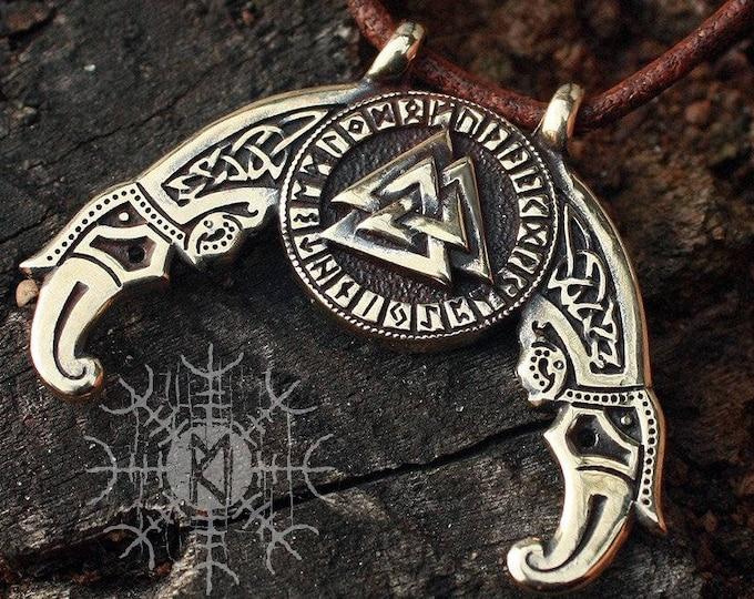 Viking pendant Valknut Futhark Odin Triple Horn Triskele Ravens Huggin Munnin Vikings Nordic Pendant Necklace