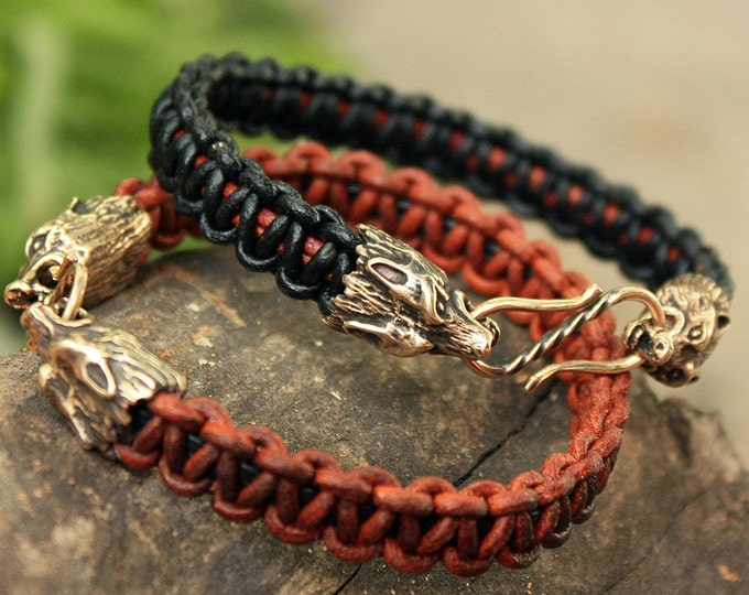 Bronze Wolf Heads Handmade Braided Genuine Leather Cuff Bracelet WHB6