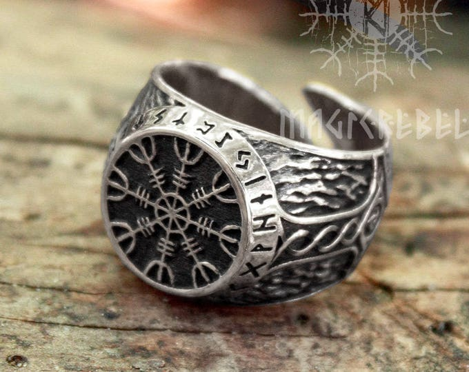 Silver Viking Ring Helm of Awe Aegishjalmur Futhark Magic Stave Runic Adjustable Size Ring