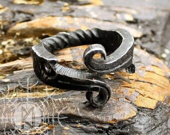 Forged Iron Ring, Viking Ring, Huginn Muninn Ravens, Jormungandr Ring, Serpent Ring, Infinity Symbol, Handmade Nordic Ring