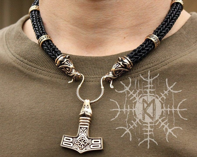 Viking Wolf Heads Braided Black Leather Necklace with Avian Eagle Head Pendant BM6