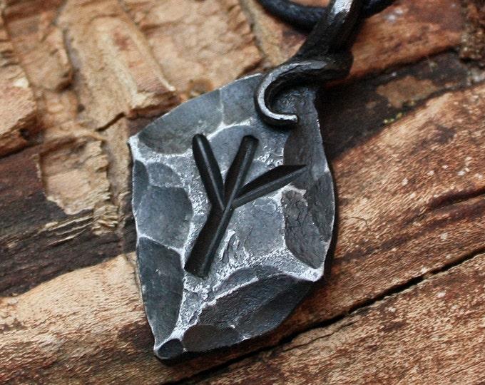 Forged Iron Algiz Elhaz Yr Rune Viking Amulet Runic Nordic Pendant Talisman Necklace