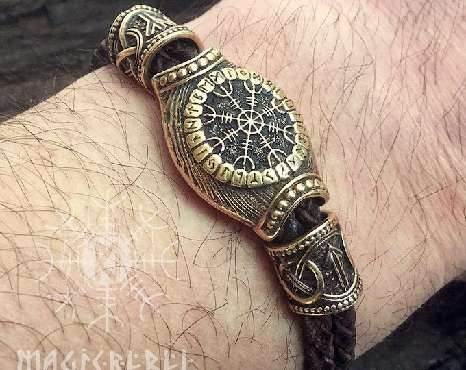 Bronze Vegvisir Aegishjalmur Futhark Runes Beads Wolf Heads  Braided brown Genuine Leather Bracelet WHB10brn