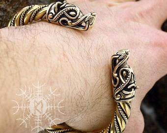 Viking Bracelet Wolf Head Fenrir Torc Arm Ring Ragnar Handmade Heavy Twisted Wire Brass Pagan Norse