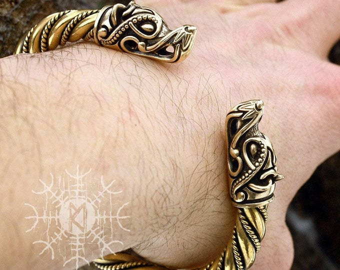 Viking Bracelet Wolf Head Fenrir Torc Arm Ring Ragnar Handmade Heavy Twisted Wire Brass Pagan Norse
