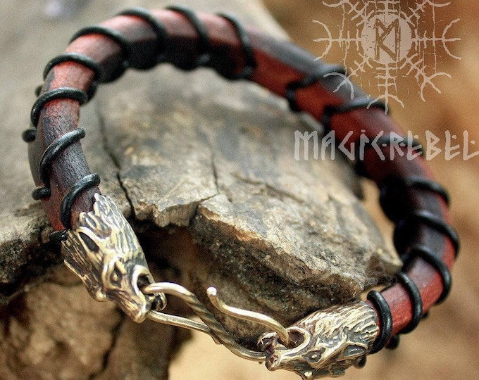 Viking Wolf Head Bracelet Handmade Bronze Fenrir Braided Genuine Leather Cuff WHB7