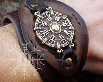 Viking Bronze Bracelet, Aegishjalmur Bracelet, Helm Of Awe Bracelet, Amulet Bracelet, Leather Cuff Bracelet, Genuine Leather Bracelet